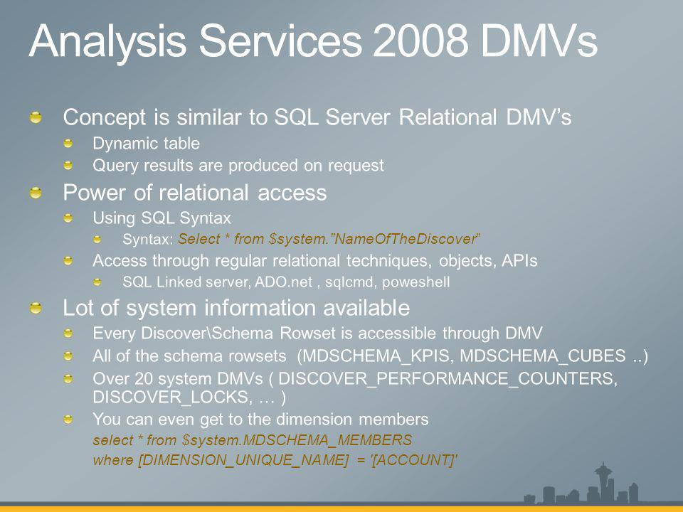 Analysis Services 2008 DMVs