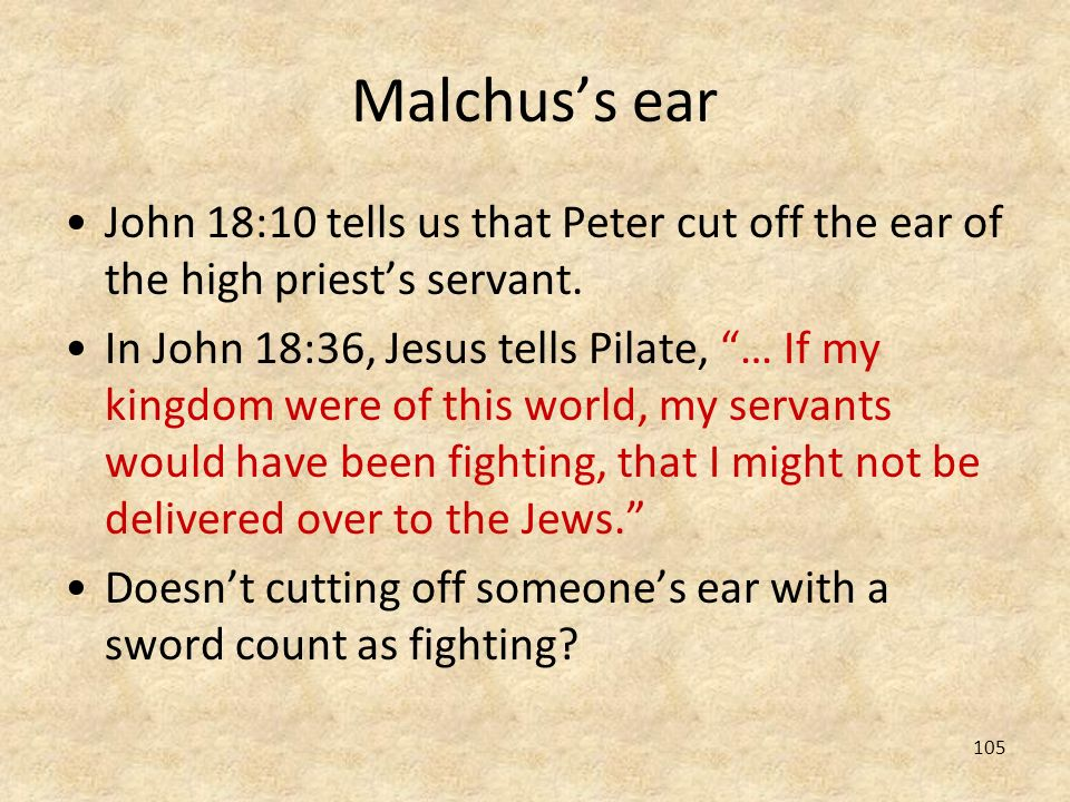 Malchus's ear John 18:10 tells us that Peter cut off the ear of the high priest's servant.