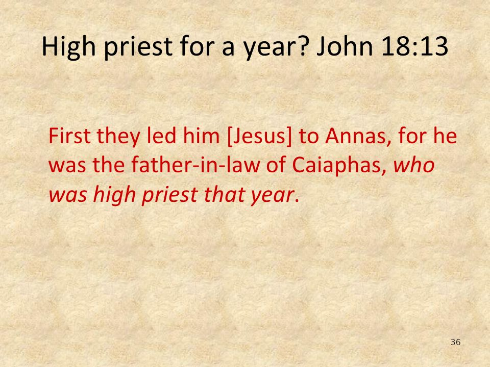 High priest for a year John 18:13