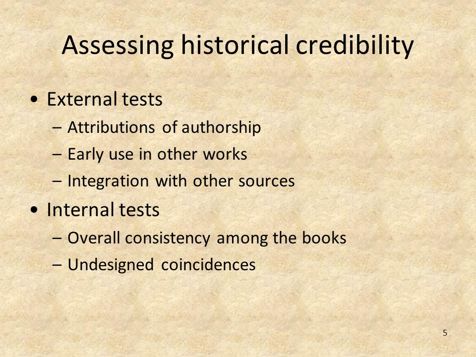 Assessing historical credibility