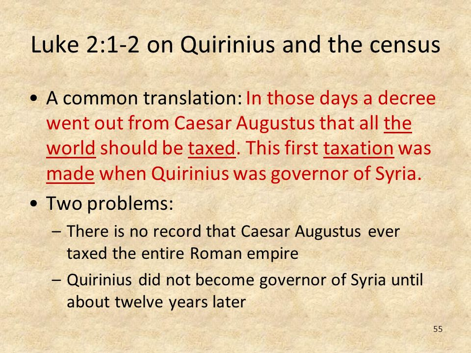 Luke 2:1-2 on Quirinius and the census