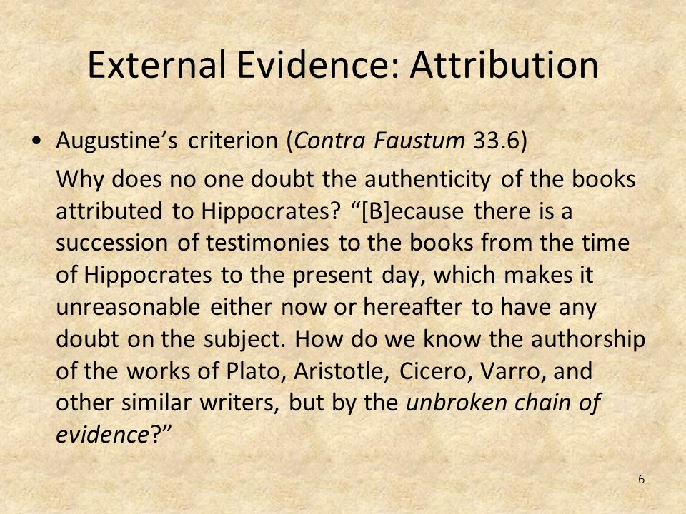 External Evidence: Attribution