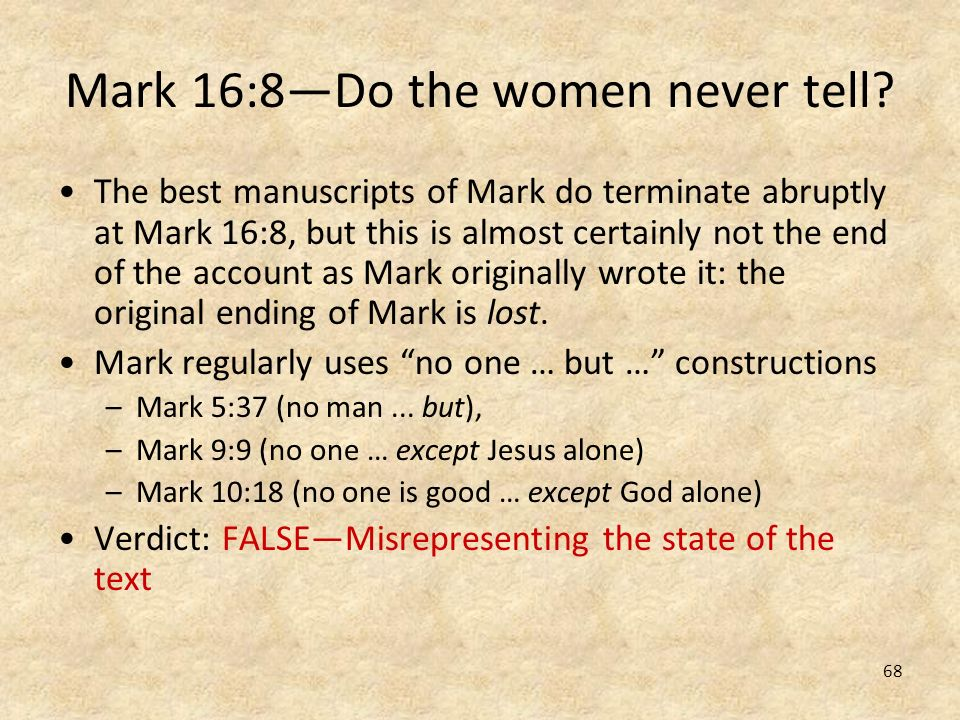 Mark 16:8—Do the women never tell