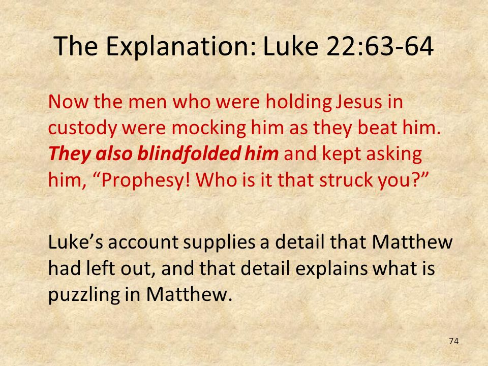 The Explanation: Luke 22:63-64