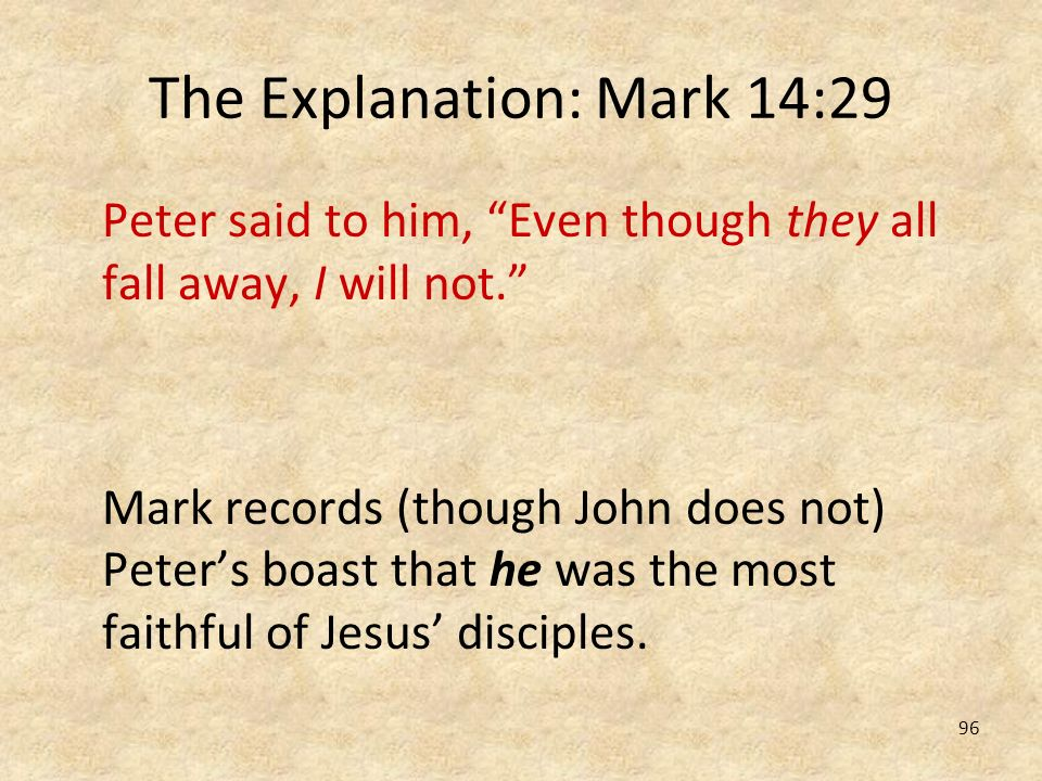 The Explanation: Mark 14:29