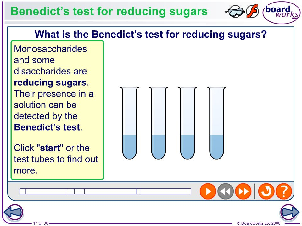 Benedict's test for reducing sugars