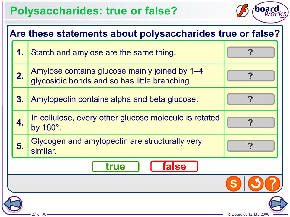 Polysaccharides: true or false