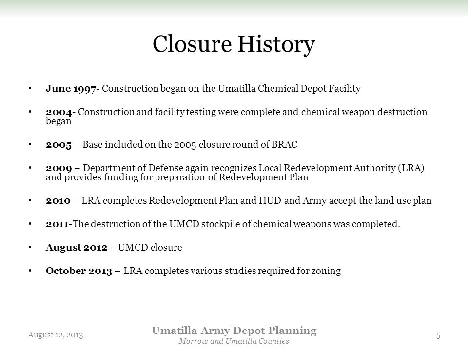 Umatilla Army Depot Planning