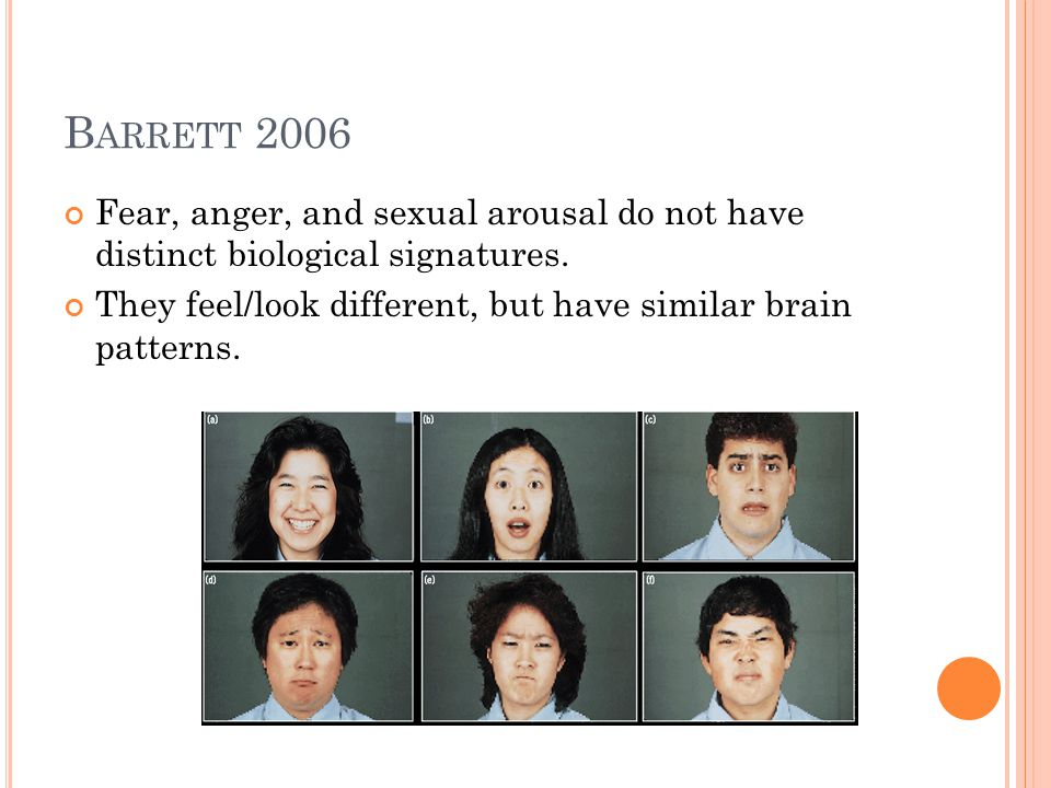 Barrett 2006 Fear, anger, and sexual arousal do not have distinct biological signatures.