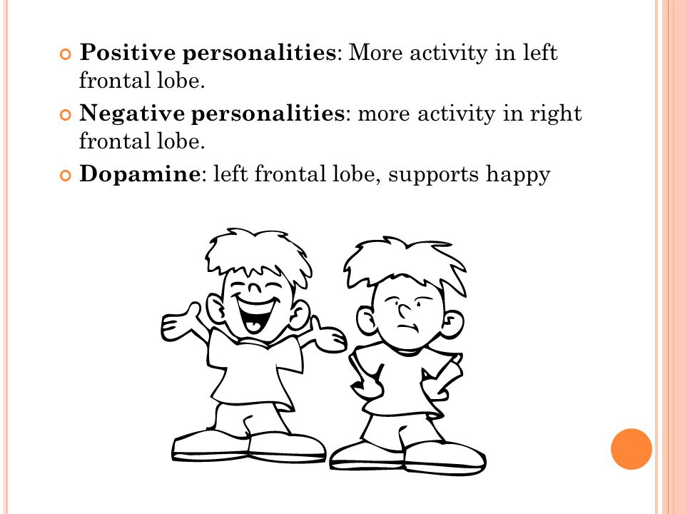 Positive personalities: More activity in left frontal lobe.
