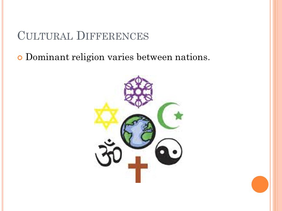 Cultural Differences Dominant religion varies between nations.