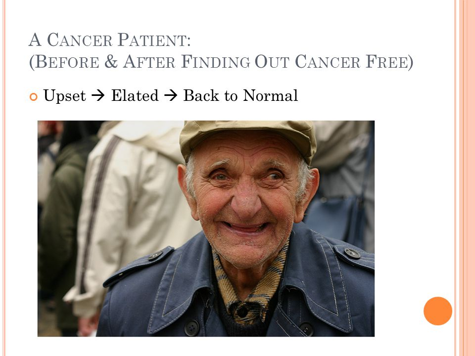 A Cancer Patient: (Before & After Finding Out Cancer Free)