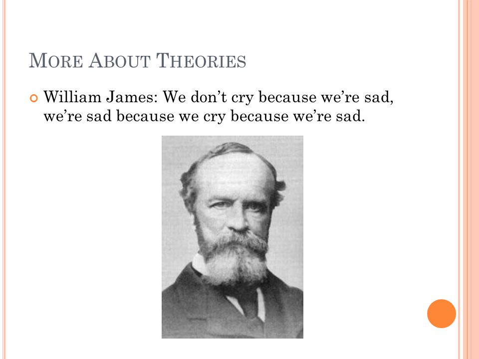 More About Theories William James: We don't cry because we're sad, we're sad because we cry because we're sad.