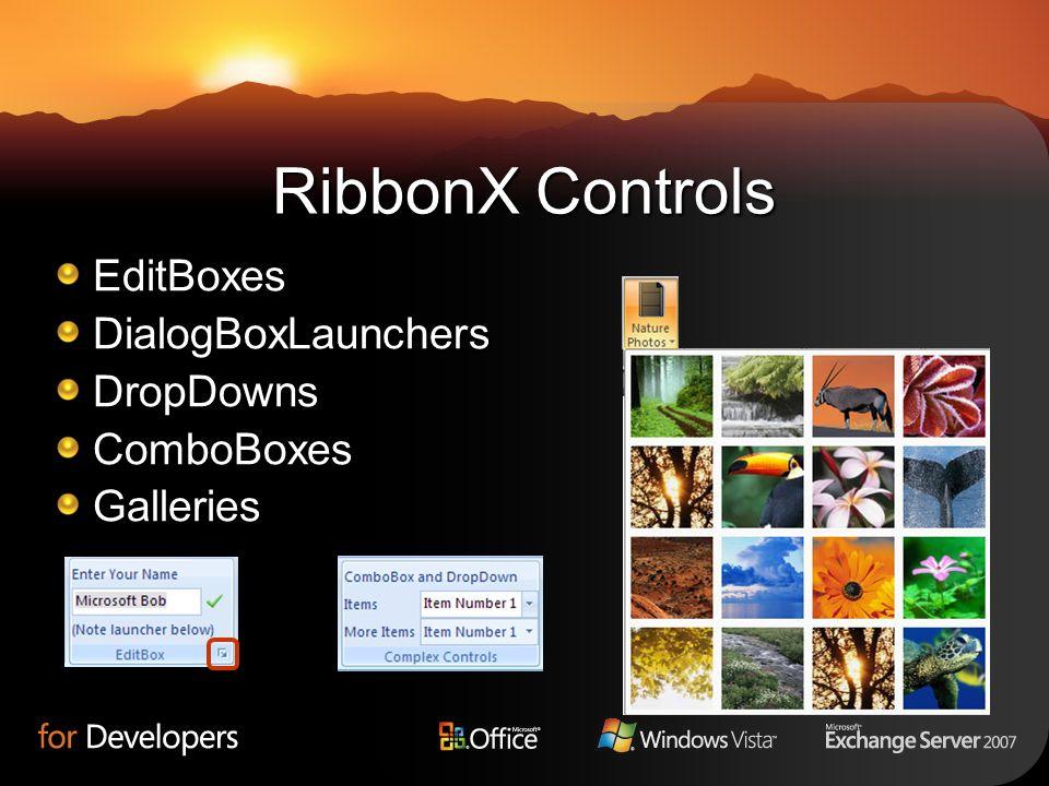RibbonX Controls EditBoxes DialogBoxLaunchers DropDowns ComboBoxes
