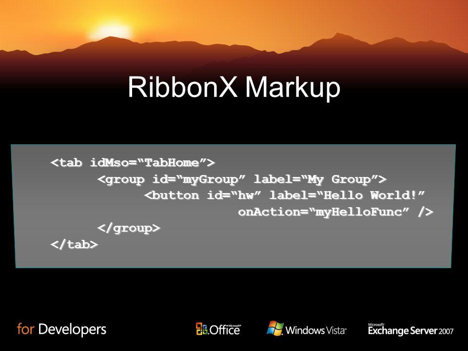 RibbonX Markup <tab idMso= TabHome >