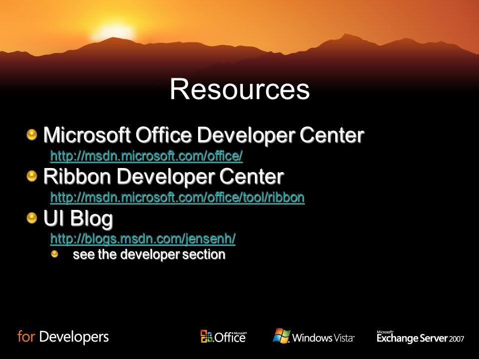 Resources Microsoft Office Developer Center Ribbon Developer Center