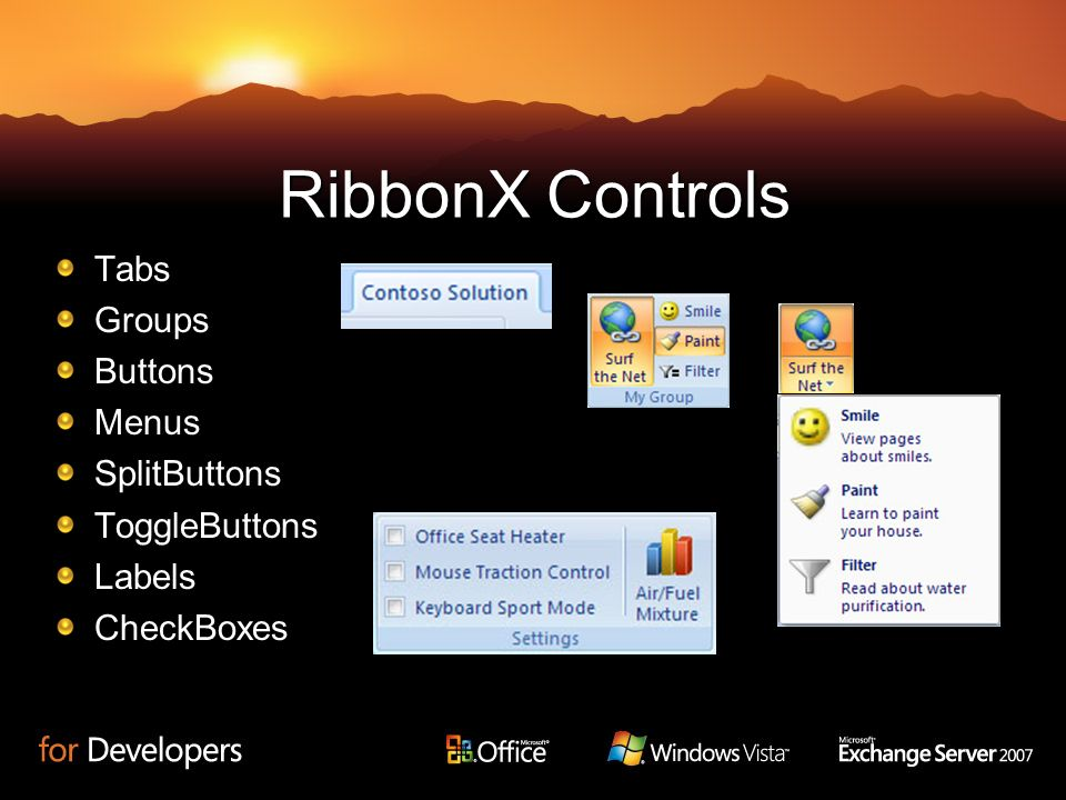 RibbonX Controls Tabs Groups Buttons Menus SplitButtons ToggleButtons
