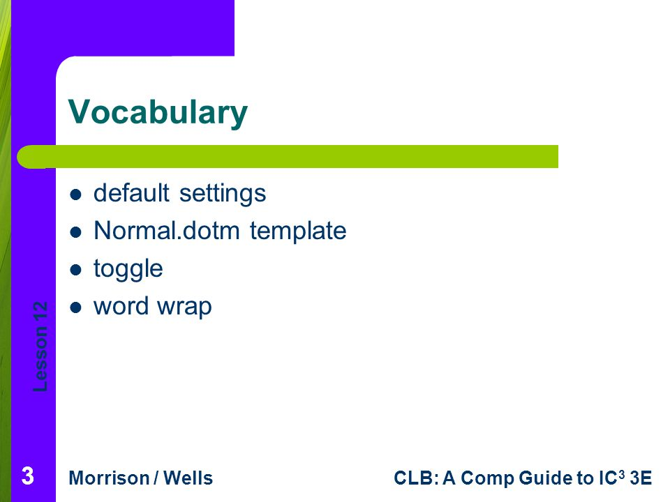 Vocabulary default settings Normal.dotm template toggle word wrap 3 3