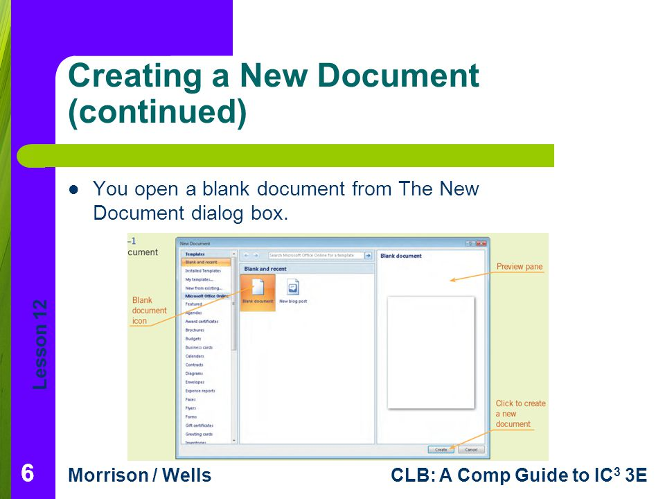 Creating a New Document (continued)