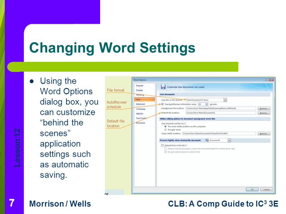 Changing Word Settings