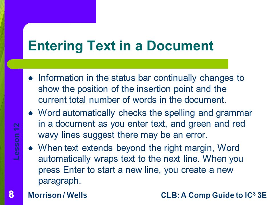 Entering Text in a Document