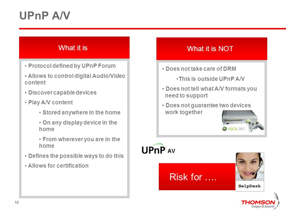 UPnP A/V Risk for …. What it is What it is NOT