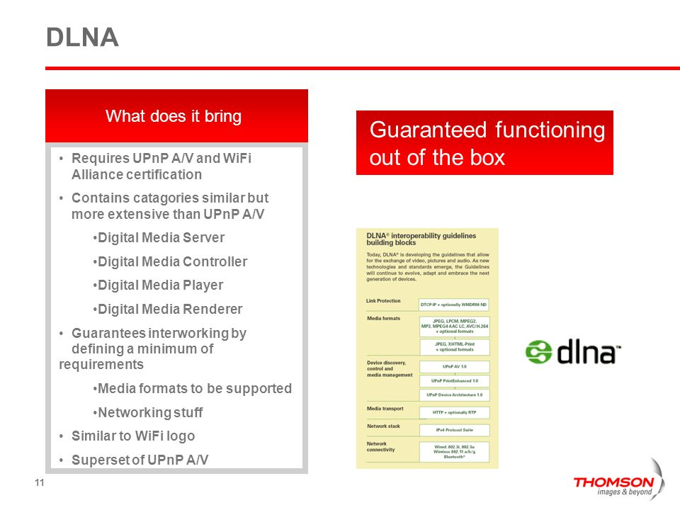 DLNA Guaranteed functioning out of the box What does it bring