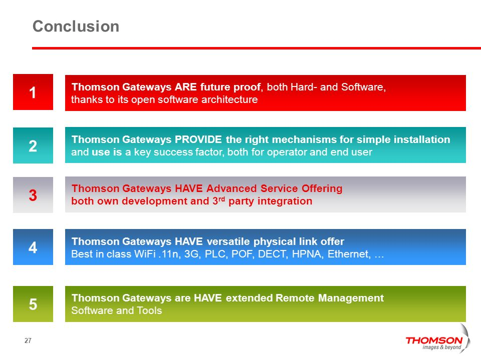 Conclusion 1. Thomson Gateways ARE future proof, both Hard- and Software, thanks to its open software architecture.