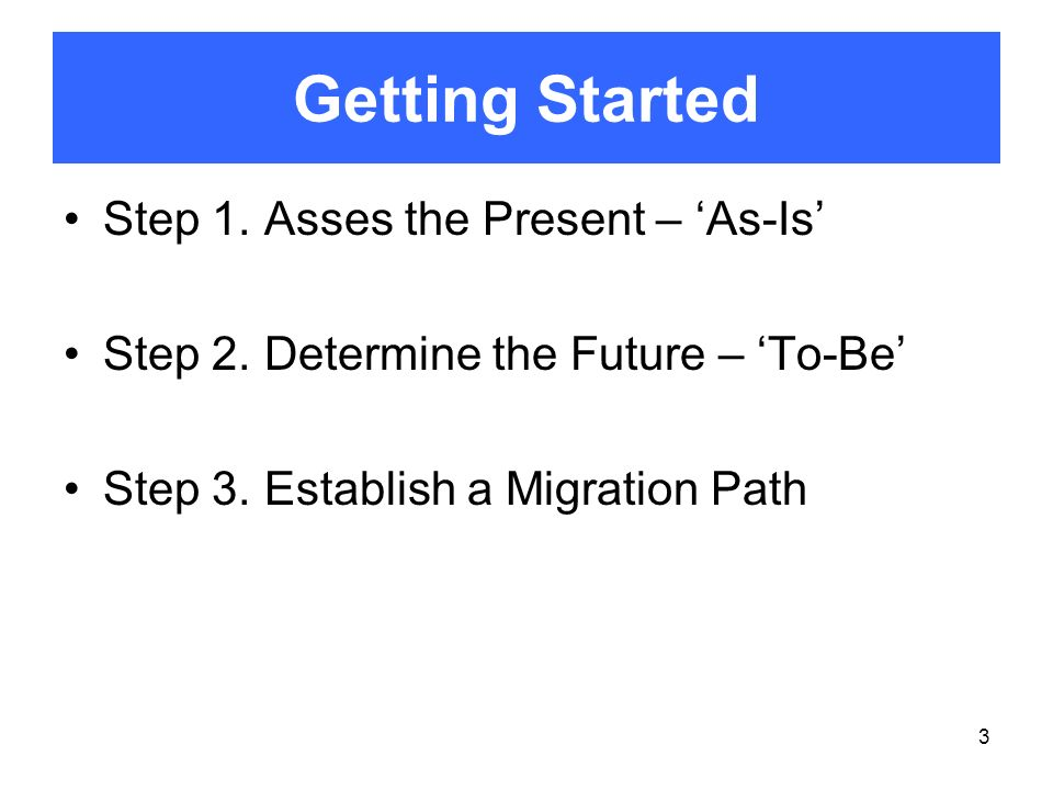 Getting Started Step 1. Asses the Present – 'As-Is'