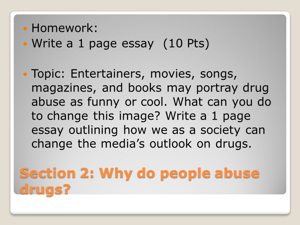 essay of drug abuse Drug abuse is a psychiatric, psychological and social problem affecting the youth of the country it ruins the individual and the society in.