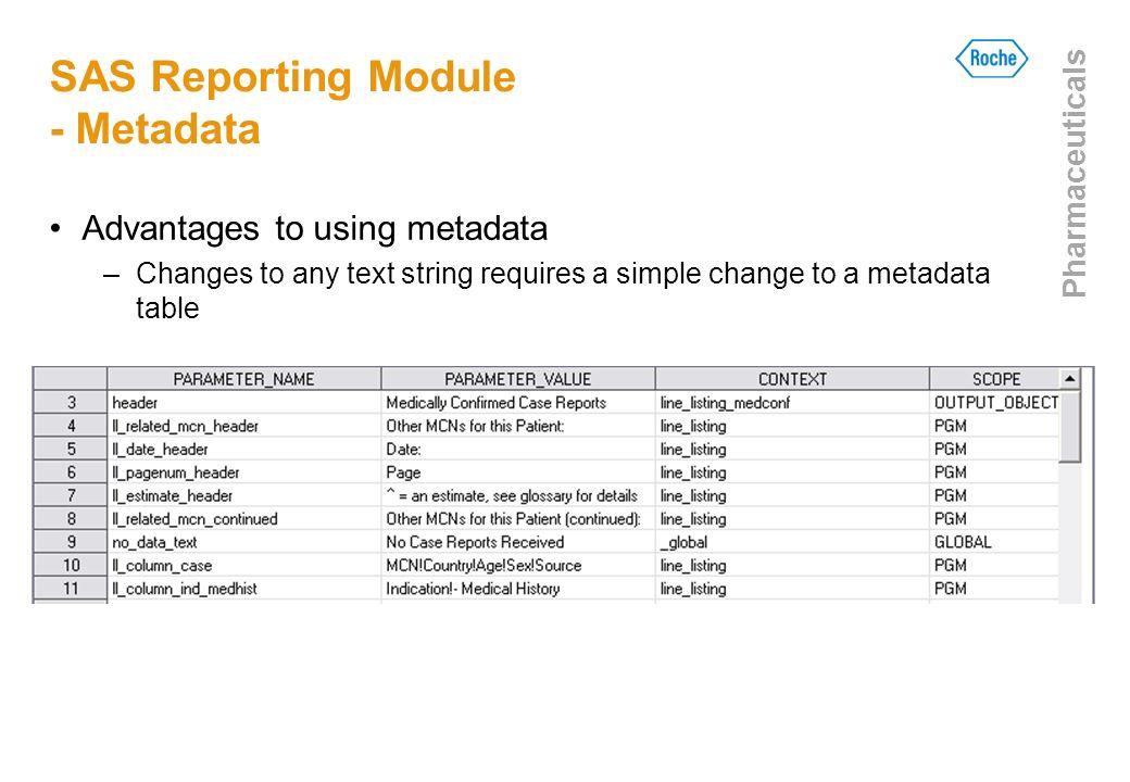 SAS Reporting Module - Metadata