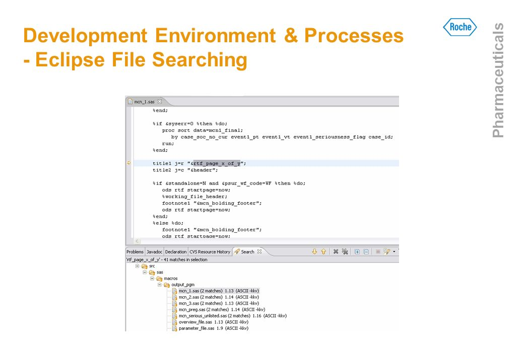 Development Environment & Processes - Eclipse File Searching