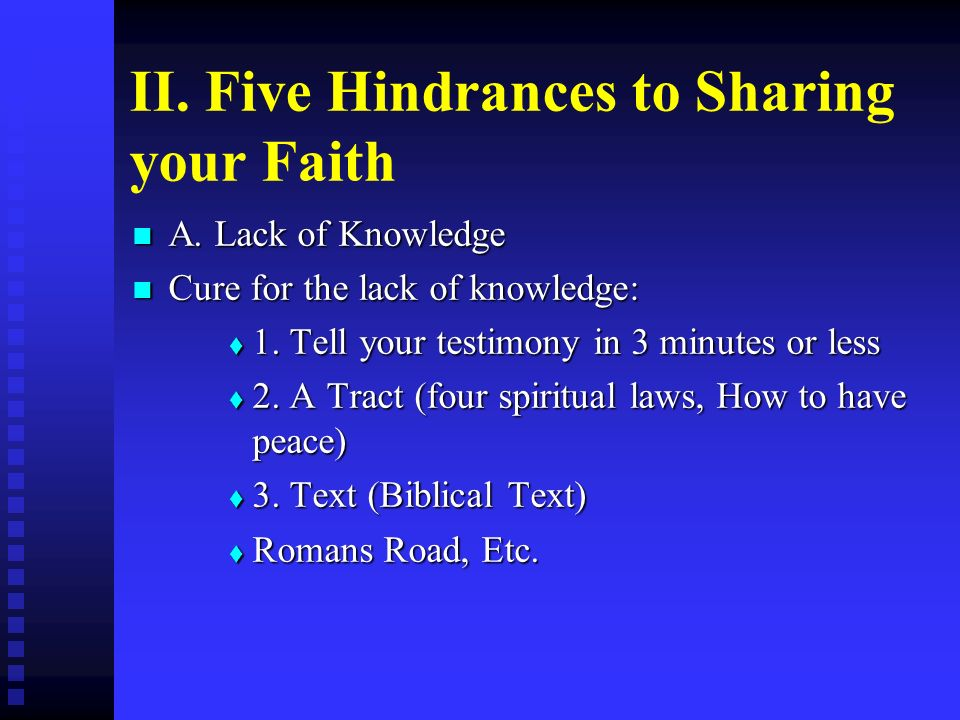 II. Five Hindrances to Sharing your Faith