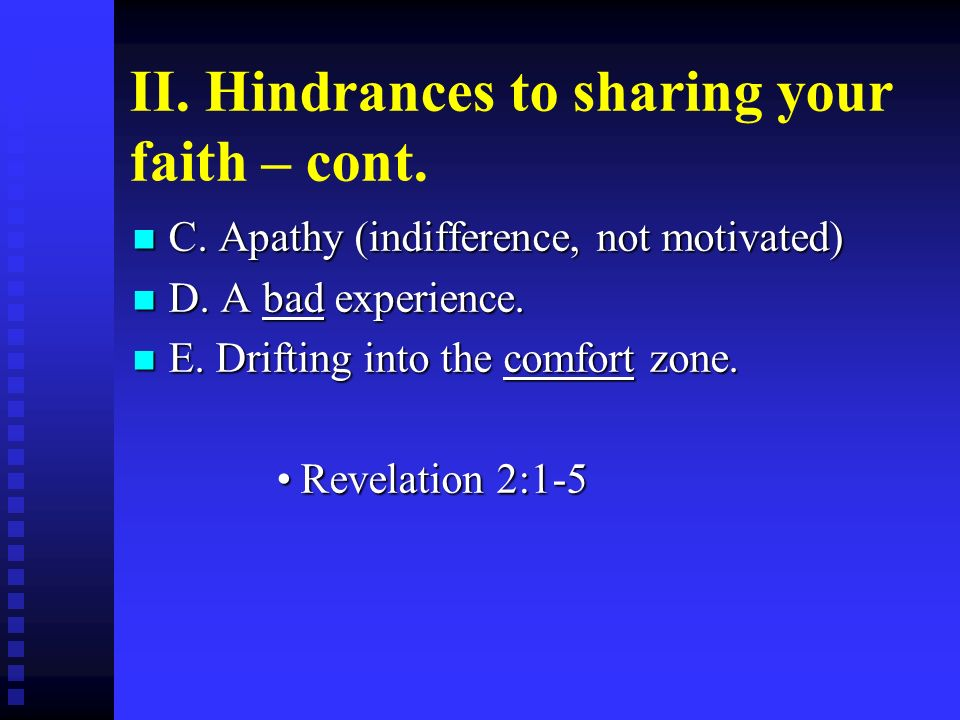 II. Hindrances to sharing your faith – cont.
