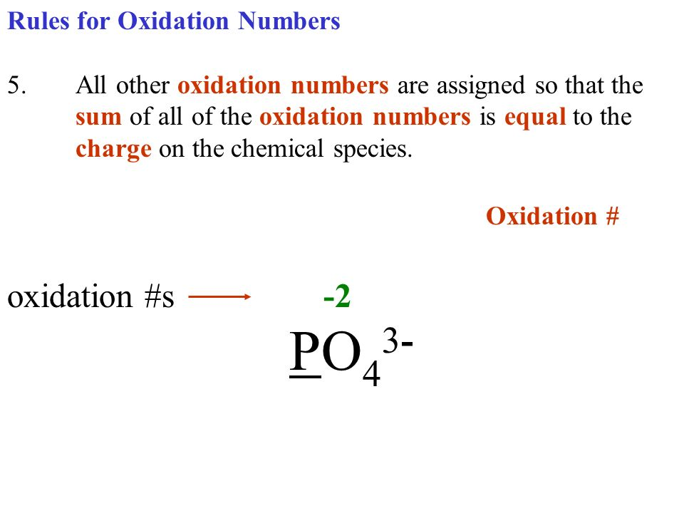 Oxidation # oxidation #s -2 PO43- Rules for Oxidation Numbers