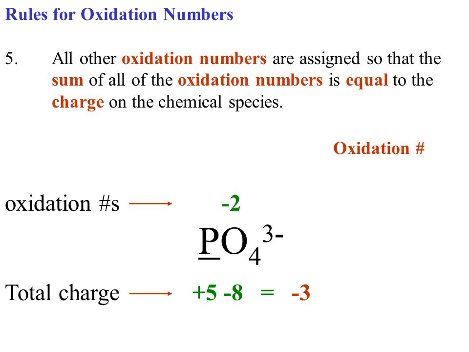 Oxidation # oxidation #s -2 PO43- Total charge +5 -8 = -3