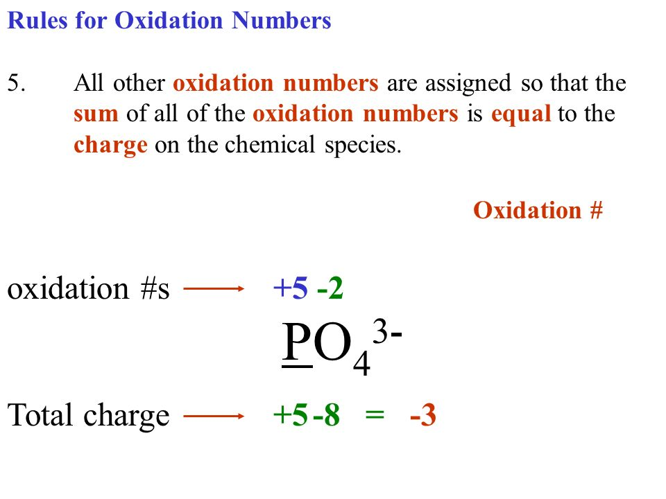 Oxidation # oxidation #s +5 -2 PO43- Total charge +5 -8 = -3