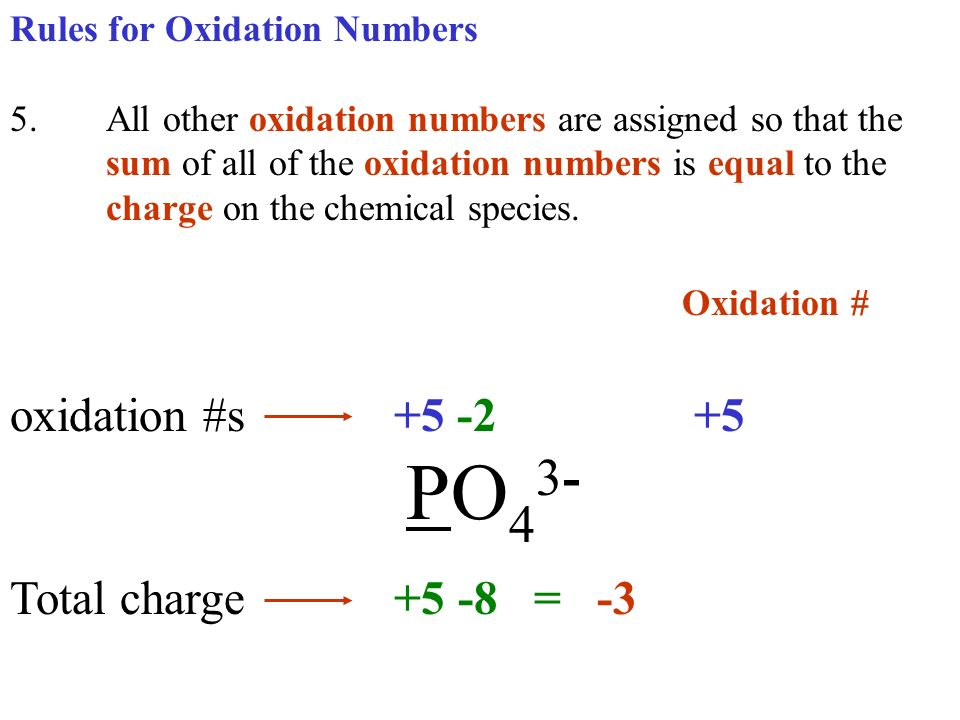 Oxidation # oxidation #s +5 -2 +5 PO43- Total charge +5 -8 = -3