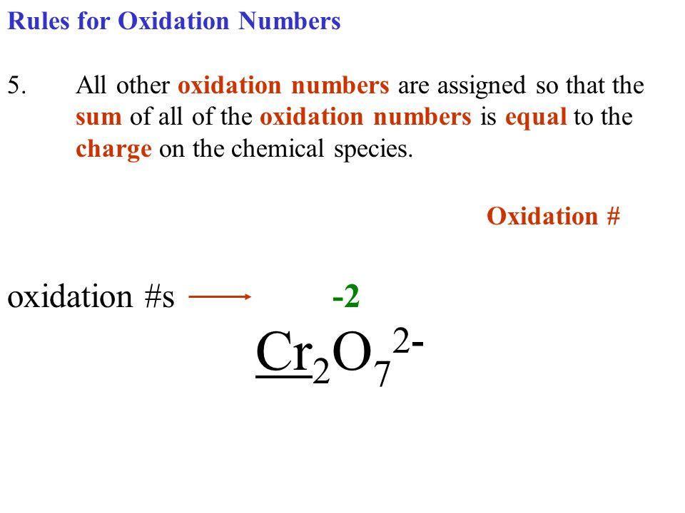Oxidation # oxidation #s -2 Cr2O72- Rules for Oxidation Numbers