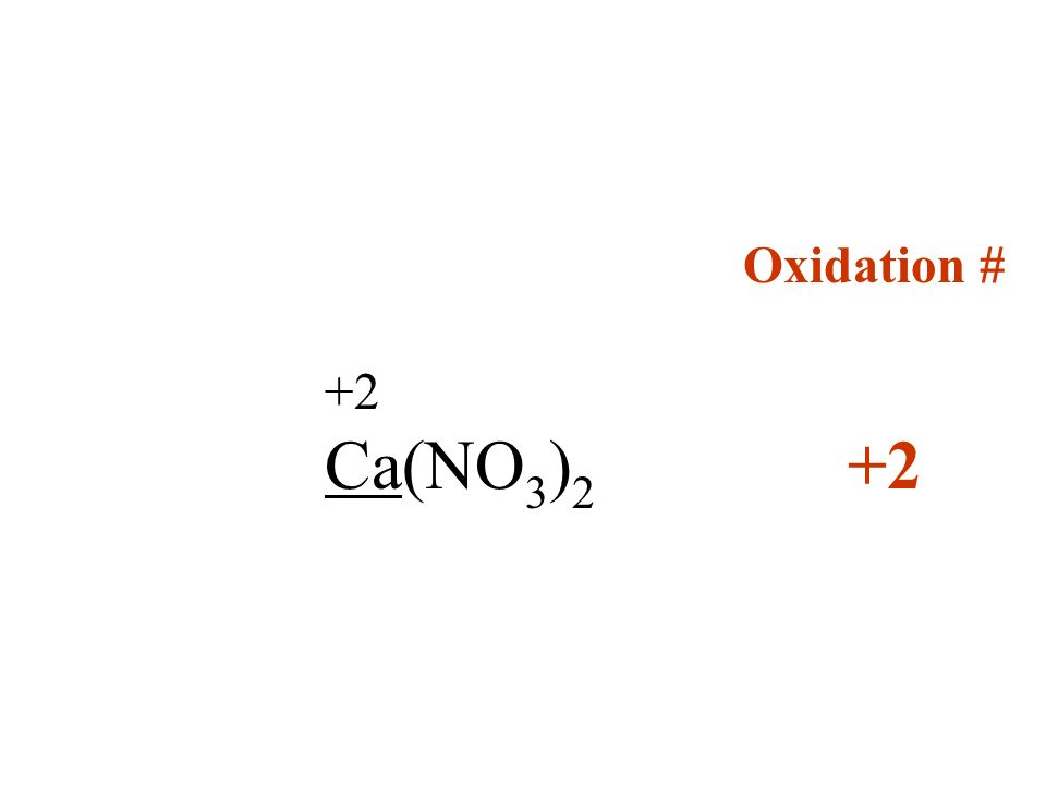 Oxidation # +2 Ca(NO3)2 +2