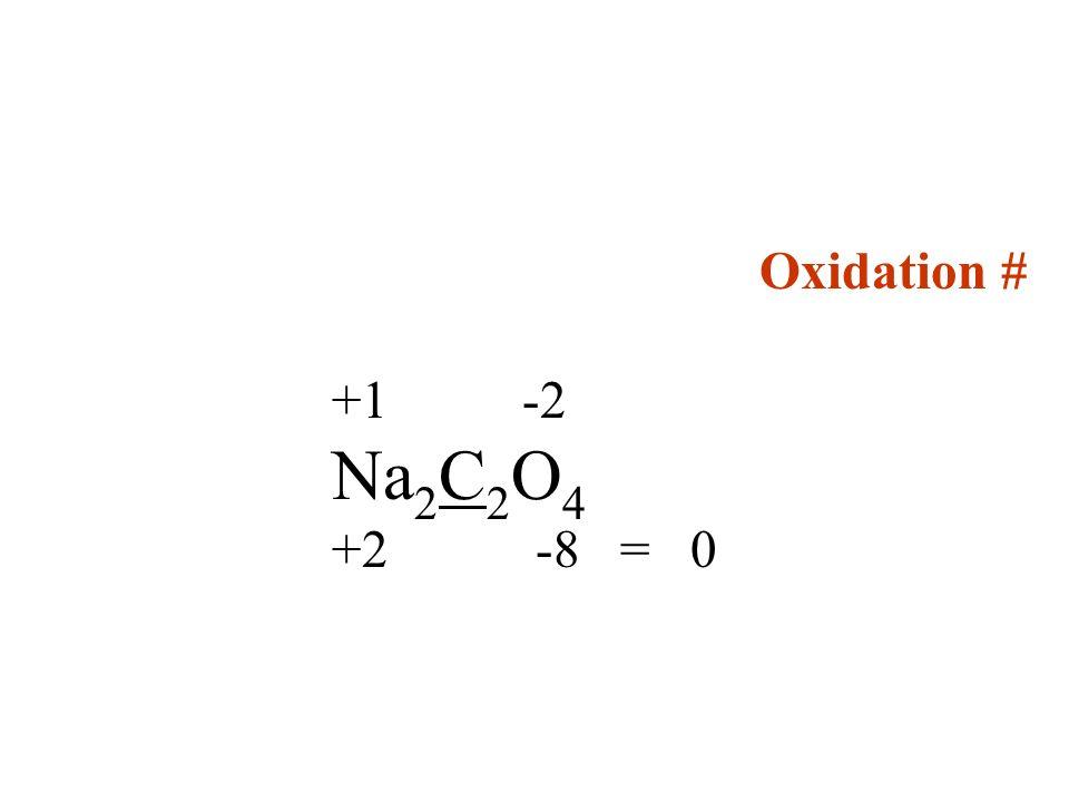 Oxidation # +1 -2 Na2C2O4 +2 -8 = 0