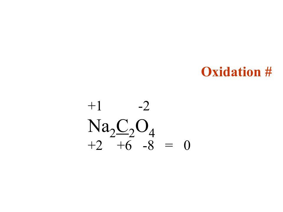 Oxidation # +1 -2 Na2C2O4 +2 +6 -8 = 0