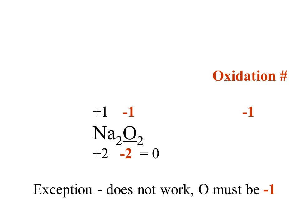 Oxidation # +1 -1 -1 Na2O2 +2 -2 = 0 Exception - does not work, O must be -1