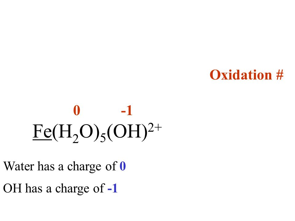 Oxidation # 0 -1 Fe(H2O)5(OH)2+ Water has a charge of 0