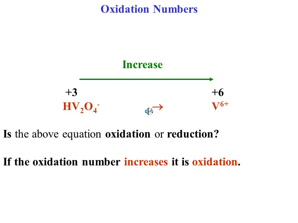 Oxidation Numbers Increase. +3 +6. HV2O4-  V6+ Is the above equation oxidation or reduction