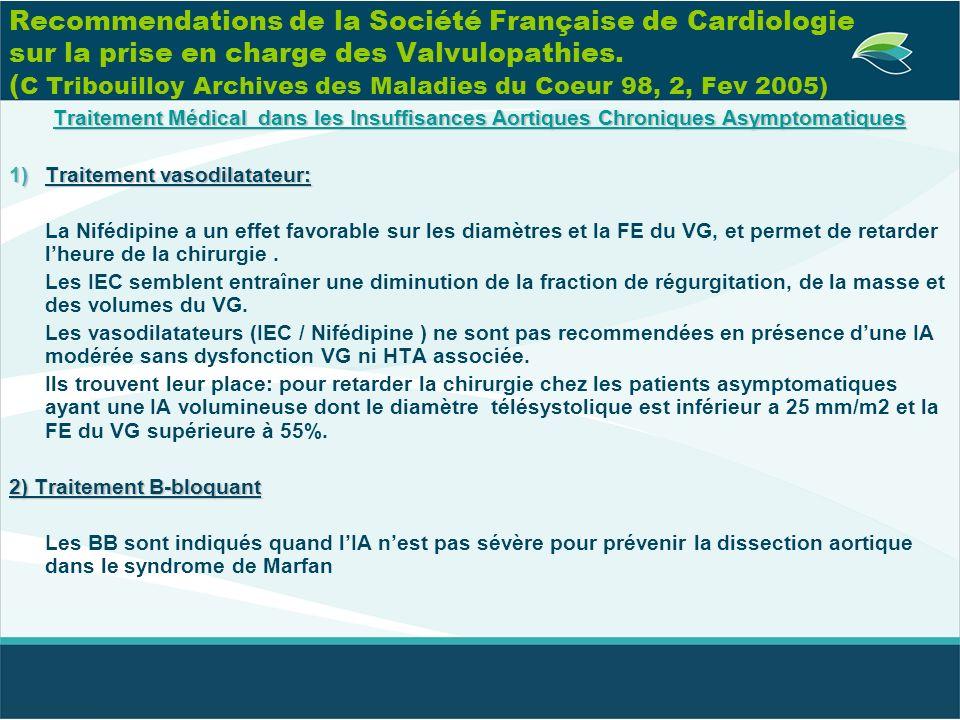 Recommendations de la Société Française de Cardiologie sur la prise en charge des Valvulopathies. (C Tribouilloy Archives des Maladies du Coeur 98, 2, Fev 2005)