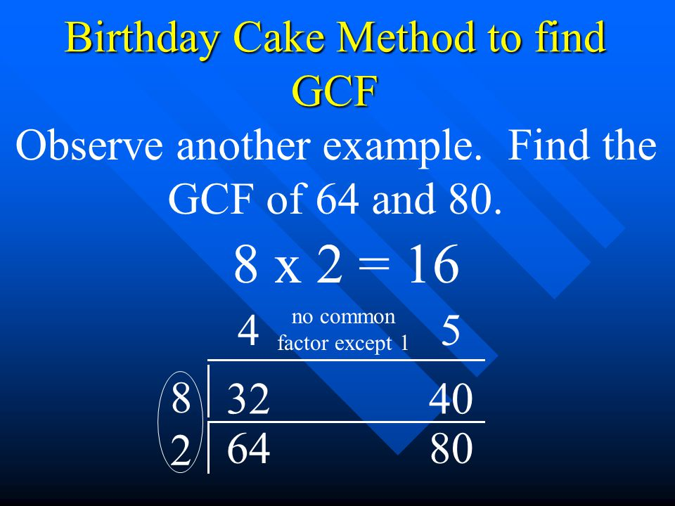 8 x 2 = 16 Birthday Cake Method to find GCF