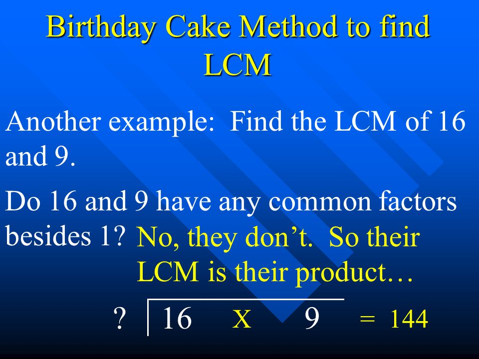 Birthday Cake Method to find LCM