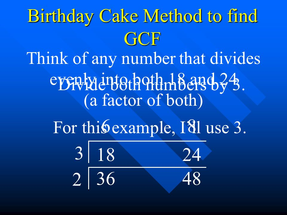 Birthday Cake Method to find GCF