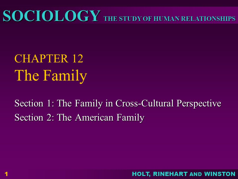 Sociology 4/7/2017. CHAPTER 12 The Family. Section 1: The Family in Cross-Cultural Perspective. Section 2: The American Family.